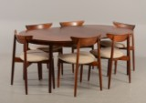 Harry Østergaard - Six chairs and table, rosewood - 3 extension leaves