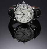 Maurice Lacroix 'Masterpiece Double Retrograde GMT'. Men's watch, steel with silver-coloured dial, 2000s