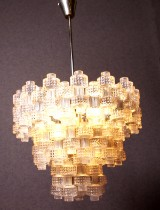 Glass pendant lamp, Orrefors, Fagerhult, mid-20th century