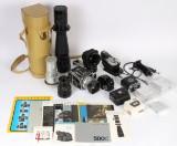 Hasselblad kamera, model 500 C, incl diver objektiver samt tilbehør. (64)