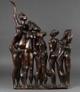 Relief med kvinder i bronze