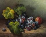 Werner De Caro, olie på lærred, stilleben med vindruer