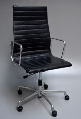 Charles Eames. Office chair, model EA-119, black leather