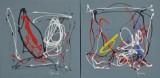 Ubekendt maler, 2000-tallet Komposition. To akryl på lærred. (2)