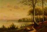 Ubekendt kunstner, olie på lærred, Kystlandskab ved Århus, 1800-tallet