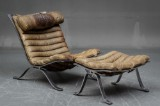 Arne Norell. 'Ari' lounge chair, leather with accompanying ottoman (2)