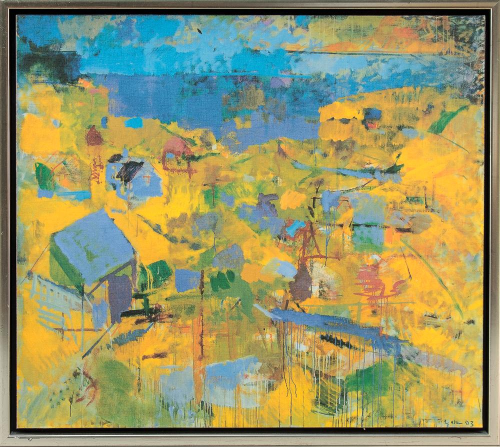 Thorbjørn Olsen. Tryk. Færøsk landskab - Færøsk landskab af Thorbjørn Olsen (f. 1956), tryk på lærred opklæbet på plade. Tryksign. og dateret Thorbjørn Olsen 03. H. 45 x 51 cm (49x55)