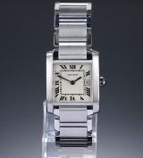 Cartier 'Tank Francaise'. Midsize dameur i stål med lys skive, 2000'erne