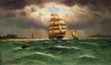 Alfred Jensen. Ships in sound, Kronborg in background, 1916