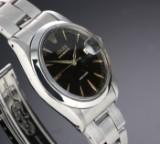 Rolex 'Oysterdate Precision'. Vintage men's watch, steel with black dial, c. 1960