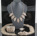 Handmade silver jewellery set of ring, bracelet, necklace and belt approx. 316 gr