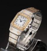 Cartier Santos Automatic. Ladies watch, 18 kt. gold and steel with diamonds