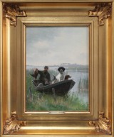 Simon Simonsen. Duck hunt. Hunter with hunting dog in boat, oil on canvas