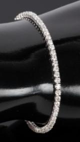 Tennisarmbånd m/ diamanter, 14 kt hvidguld, 3.01 ct