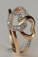 Hjertering med diamanter ca. 0,25 ct.