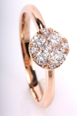 Diamond earrings, 14 kt. pink gold, approx. 0.48 ct.