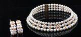 Pearl necklace & earrings with diamonds approx. 0.78ct
