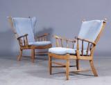 Øreklapstol samt lænestol, egetræ (2)