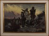Ubekendt kunstner, olie på lærred, 'De Sammensvorne rider fra