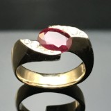 Design ring with rubies and brilliant cut diamonds