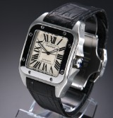 Cartier 'Santos 100'. Men's watch, steel, with silver-coloured dial, 2010s