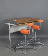 George Nelson, high desk from the Action Office program + pair of stools, model Perch for Herman Miller / Vitra (3)