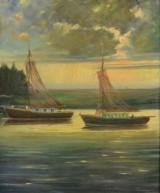 E. Luckhaus, oliemaleri, 'Boote im Hafen'