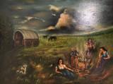 E. Ritter, Öl auf Leinwand  'Zigeuner am Lagerfeuer '