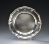 Large round silver platter with French prestige stamps, probably 18th century