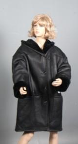 Auluna. Rulams frakke m/ hætte i sort, str. 44-48