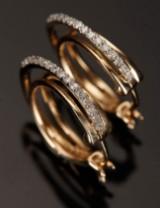 Øreringe, Creoler, 9 kt guld med 0.25 ct