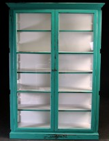Display cabinet, turquoise antique paint