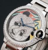 Cartier 'Ballon Bleu'. Unisex watch, steel with dial set with diamonds, c. 2013