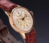 Ulysse Nardin 'Chronograph'. Vintage, 18 kt. men's watch with pale dial, 1940-50s