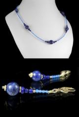 Schmuckset aus blauem Achat, Lapis Lazuli und Sterlingsilber ( 3 )