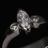 Frantz Hingelberg, Århus. Diamond ring, 18 kt. white gold with navette-cut diamond, 0.55 ct.