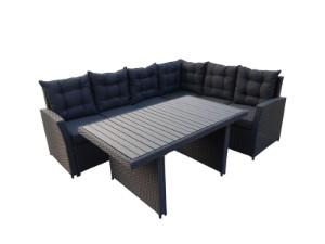 Loungesæt med bord. Sort - Dk, Esbjerg, Oddesundvej - Loungesæt med bord. Hjørne Loungesæt. Sort 15mm flad og 6mm halvrund polyrattan i kraftig kvalitet. Pulverlakeret aluminiumsstel. Grå Kraftige vandafvisende hynder på 10cm, samt ryg puder, med 310g polyester vaskbart betræ - Dk, Esbjerg, Oddesundvej