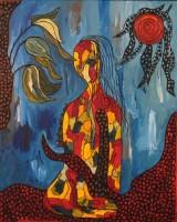Bente Gammelgaard f. 1943. Figurkomposition, akryl på lærred, 2015