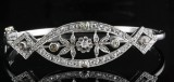 Diamond rose and old-cut diamond bangle in 14kt approx. 0.50ct