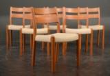 EMC Møbler: 6 stole af massivt teak / uld (6)