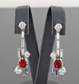Diamond and ruby earrings in 18kt approx.1.25ct (2)
