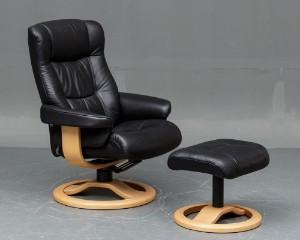 Scansit: Hvilestol med skammel, læder (2)