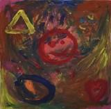 Joey Moe, akryl på plade, komposition