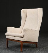 A. J. Iversen. Wing chair, rosewood and wool fabric