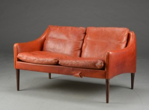 Hans Olsen Two Seater Sofa Model 800 2 Leather And Rosewood Lauritz