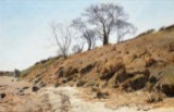Janus la Cour, oil on canvas, 'Strandskrænt med træer'