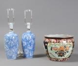 Kinesisk fiskekumme samt par bordlamper, 1900-tallets slutning (3)