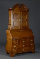Danish or North German Baroque bureau with top cabinet, oak, 18th century