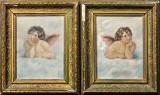 Ubekendt Kunstner, 1800/1900-tallet, olie på lærred, motiver med engle (2)