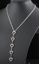 18K heart shape diamond necklace 0.88ct